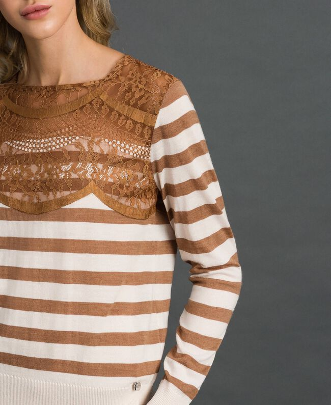 """Wool blend jumper with stripes and lace Creamy White / """"Sequoia"""" Beige Woman 192ST3010-01"""