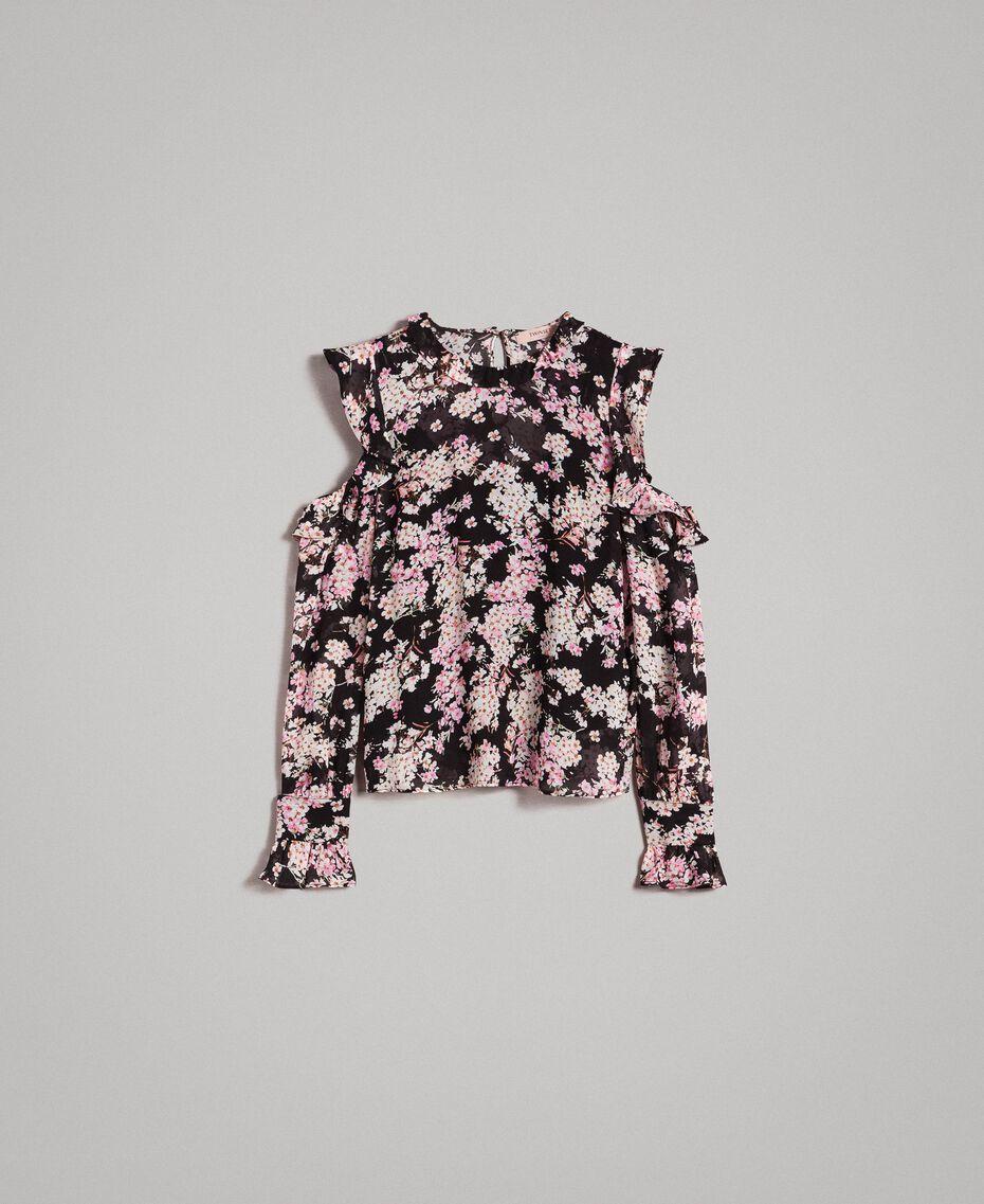 """Blouse en georgette à imprimé floral Imprimé Noir Rose """"Bouquet Rose"""" Femme 191TP2715-0S"""