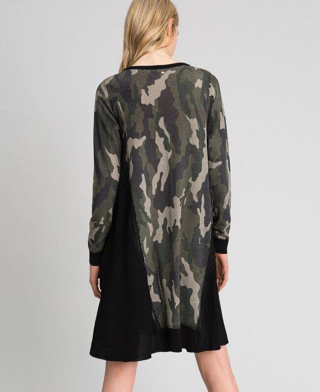 Robe en maille imprimée avec insertions Imprimé Mélange Fleur Noir Femme 192TT3341-04