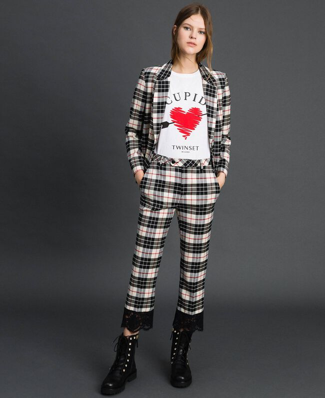 "Flared trousers in chequered wool ""Snow"" White Tartan Jacquard Woman 192TP2622-01"
