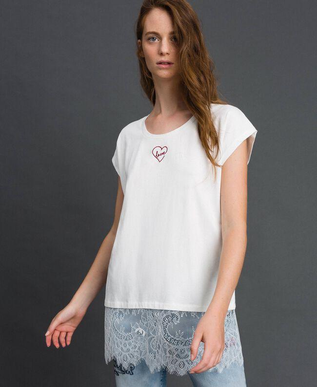 T-shirt con ricamo a cuore e pizzo al fondo Giglio Donna 192MP2431-01