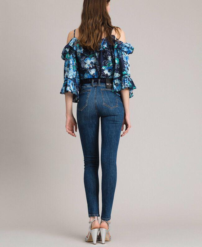 Grosgrain bestickte Skinny Jeans Denimblau Frau 191MP2483-03