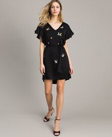 Satin dress with butterfly embroidery Black Woman 191TT2114-05