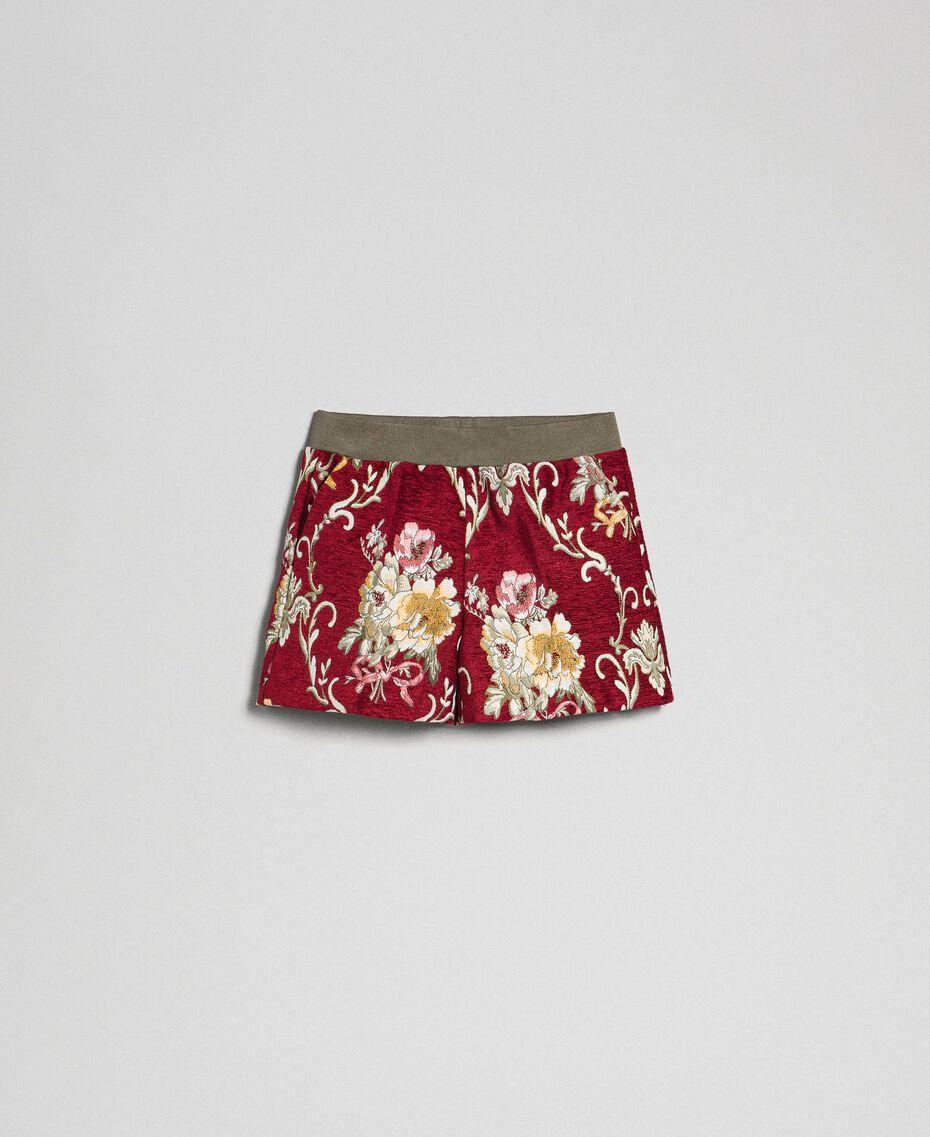 Short en brocart floral Jacquard Brocart Vin Rubis Enfant 192GJ2445-0S
