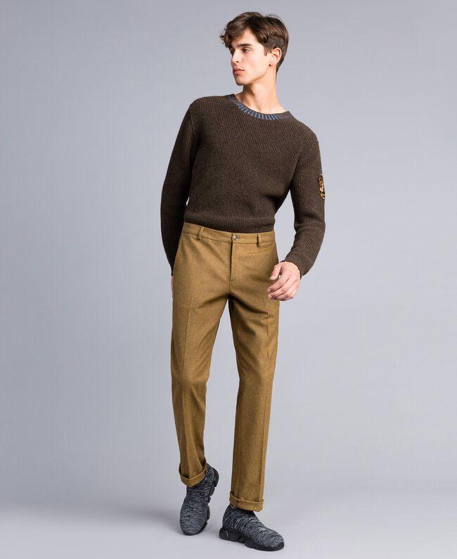 Hose aus Flanell Karamellbraun-Melange Mann UA82C1-01