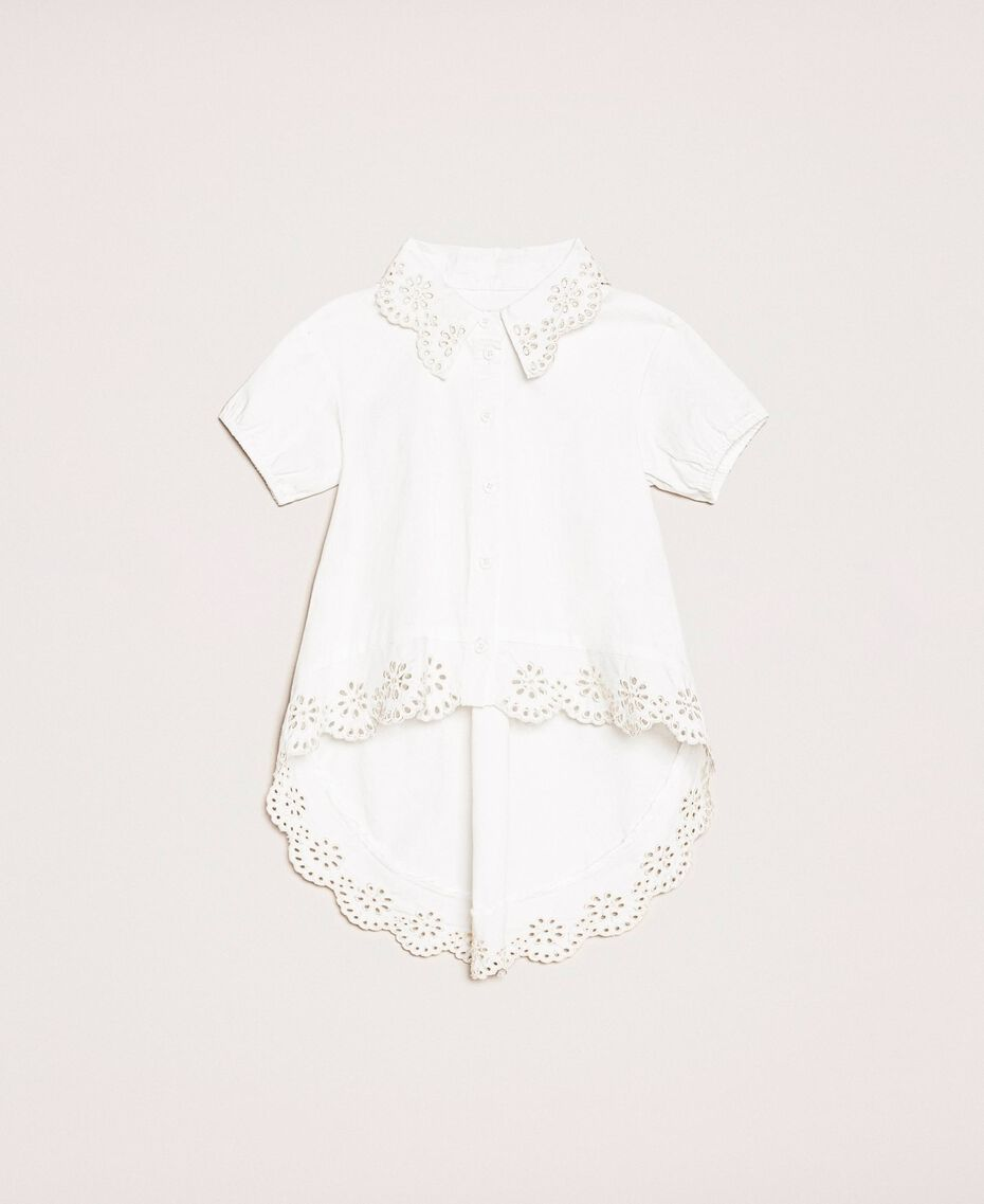 "Poplin shirt with broderie anglaise Two-tone ""Papyrus"" White / Chantilly Child 201GB2151-01"