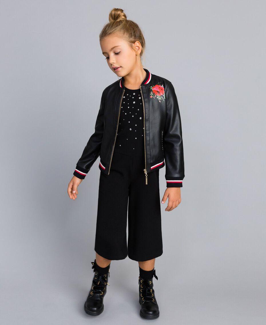 Jacke aus Lederimitat mit Stickereien Zweifarbig Schwarz / Mohnrot Kind GA82B1-0T