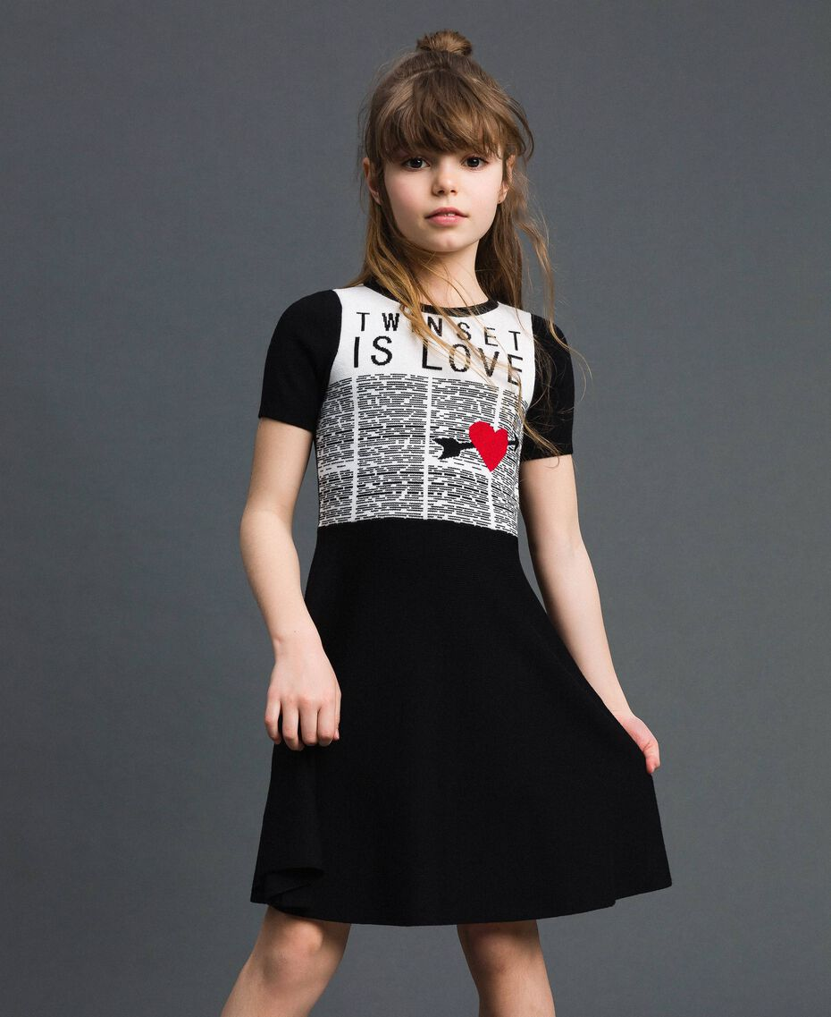 Jacquard knit dress with heart Jacquard Black / Off White Child 192GJ3161-01