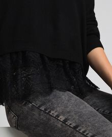 Boxy jumper with crêpe and lace top Black Woman 192TT3085-04