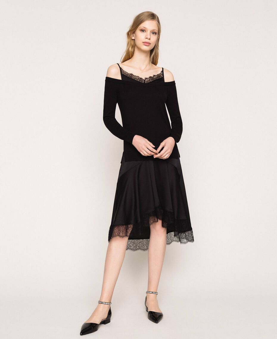 Knit dress with slip effect satin Black Woman 201TP3070-01