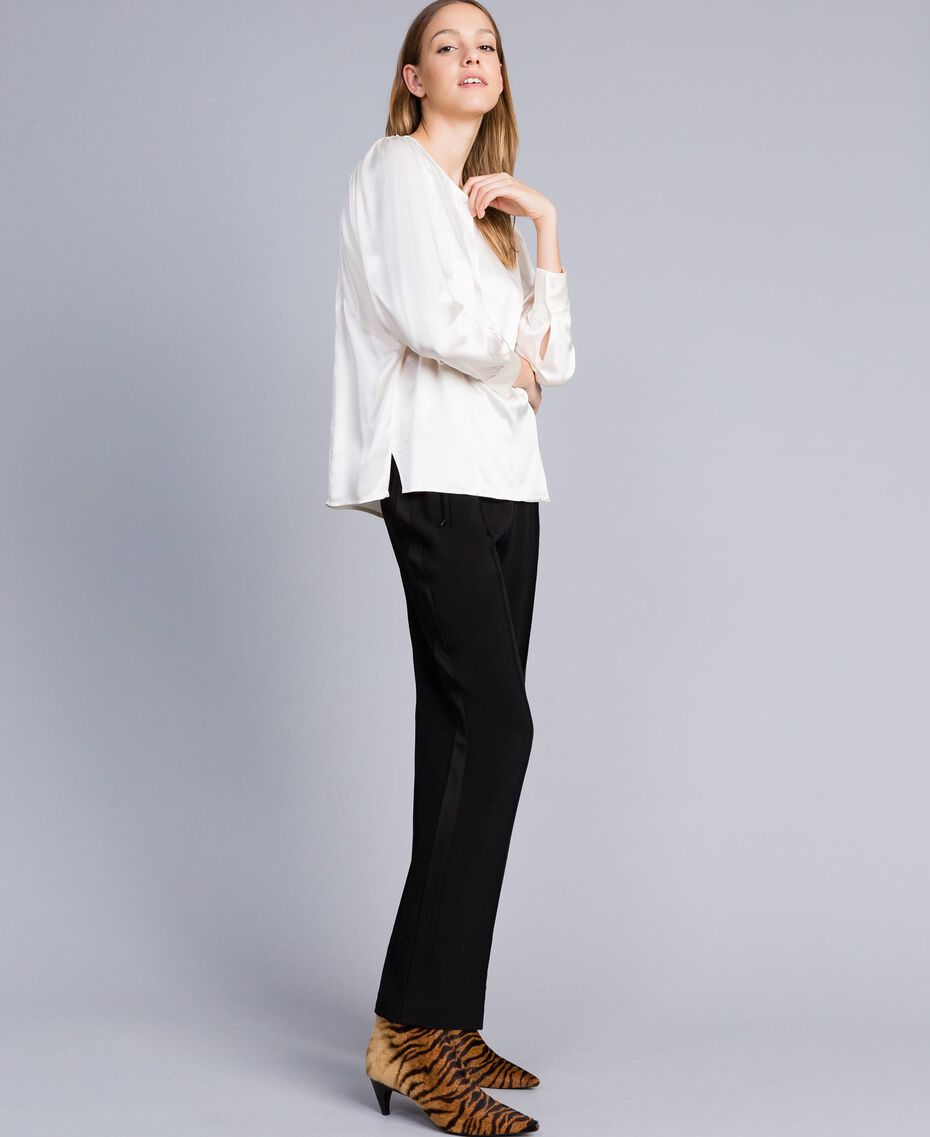 Bluse aus Satin aus Seidenmischung Weiß Schnee Frau TA82YA-02