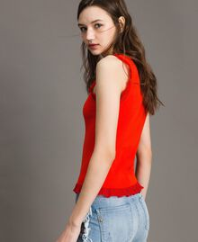 Ribbed top with ruffle Granadine Red Woman 191TT3043-02