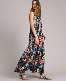 Maxikleid mit Blumenprint und Neckholder All Over Black Multicolour Flowers Motiv Frau 191MT2294-02