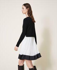 "Slip dress with wool blend jumper Bicolour Black / ""Snow"" White Woman 202TT3052-03"