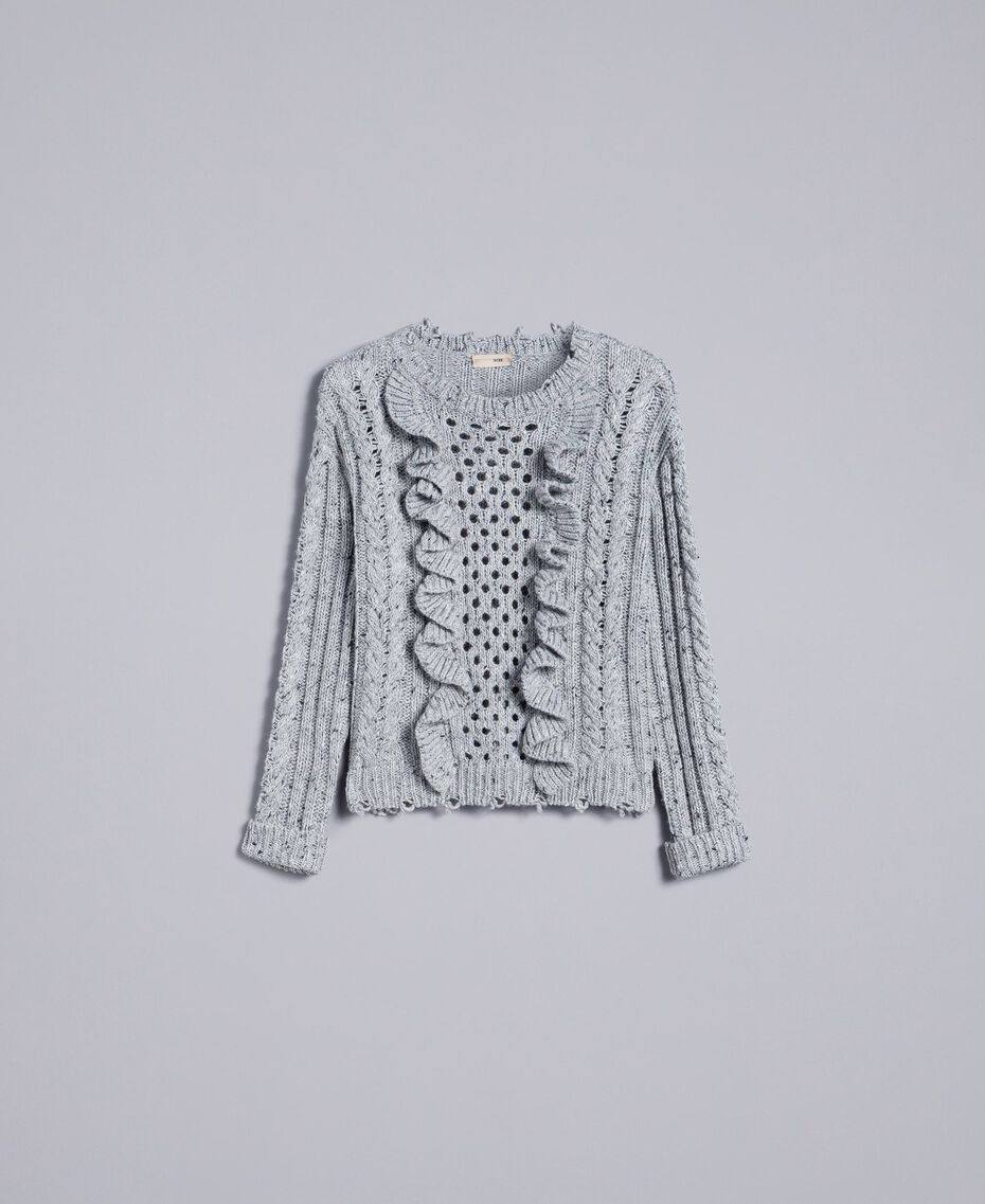 Tweed jumper with ruches Light Gray Mélange Woman SA83DA-0S