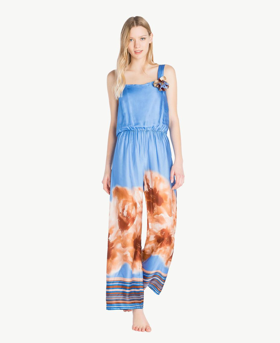 "Printed jumpsuit ""Lagoon"" Blue Mix Print Woman MS8NJJ-02"