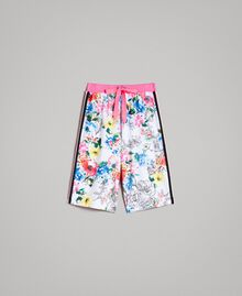 Printed fleece cropped trousers All Over Optical White Multicolour Flowers Print Woman 191MT2362-0S