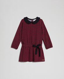 Crêpe dress with hearts all over Tiny Heart Print Child 192GB2530-01