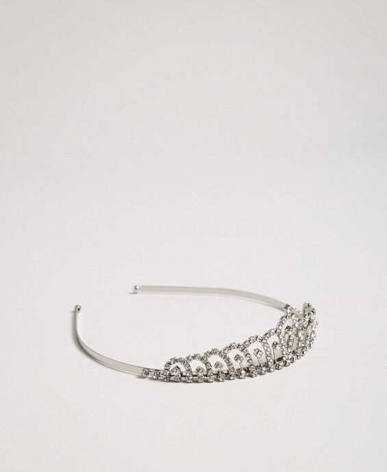 Metal tiara headband with stones