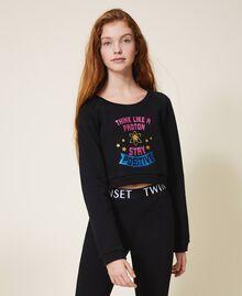 Cropped sweatshirt with print Black Child 202GJ2811-02