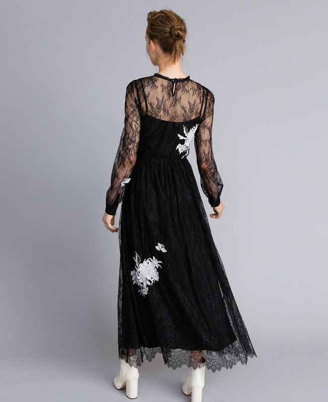 Long Valencienne lace dress Black Woman PA824Q-03