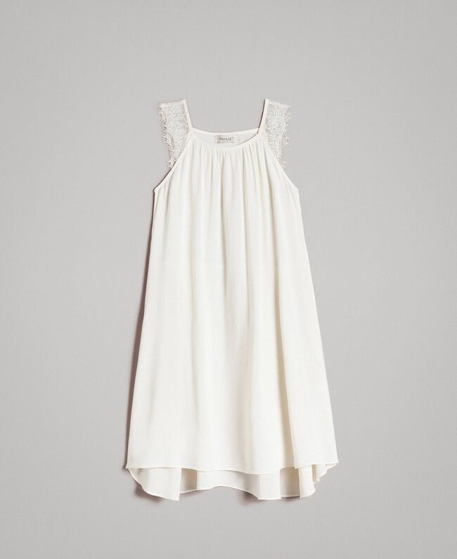 Long dress with lace Pale Cream Child 191GJ2433-01