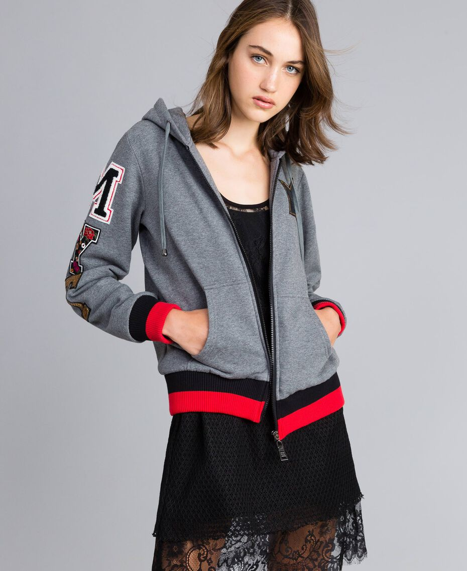 "Hooded cotton sweatshirt Multicolor Grey Melange /  / Alpine Green / ""Poppy"" Red Woman YA82LR-02"