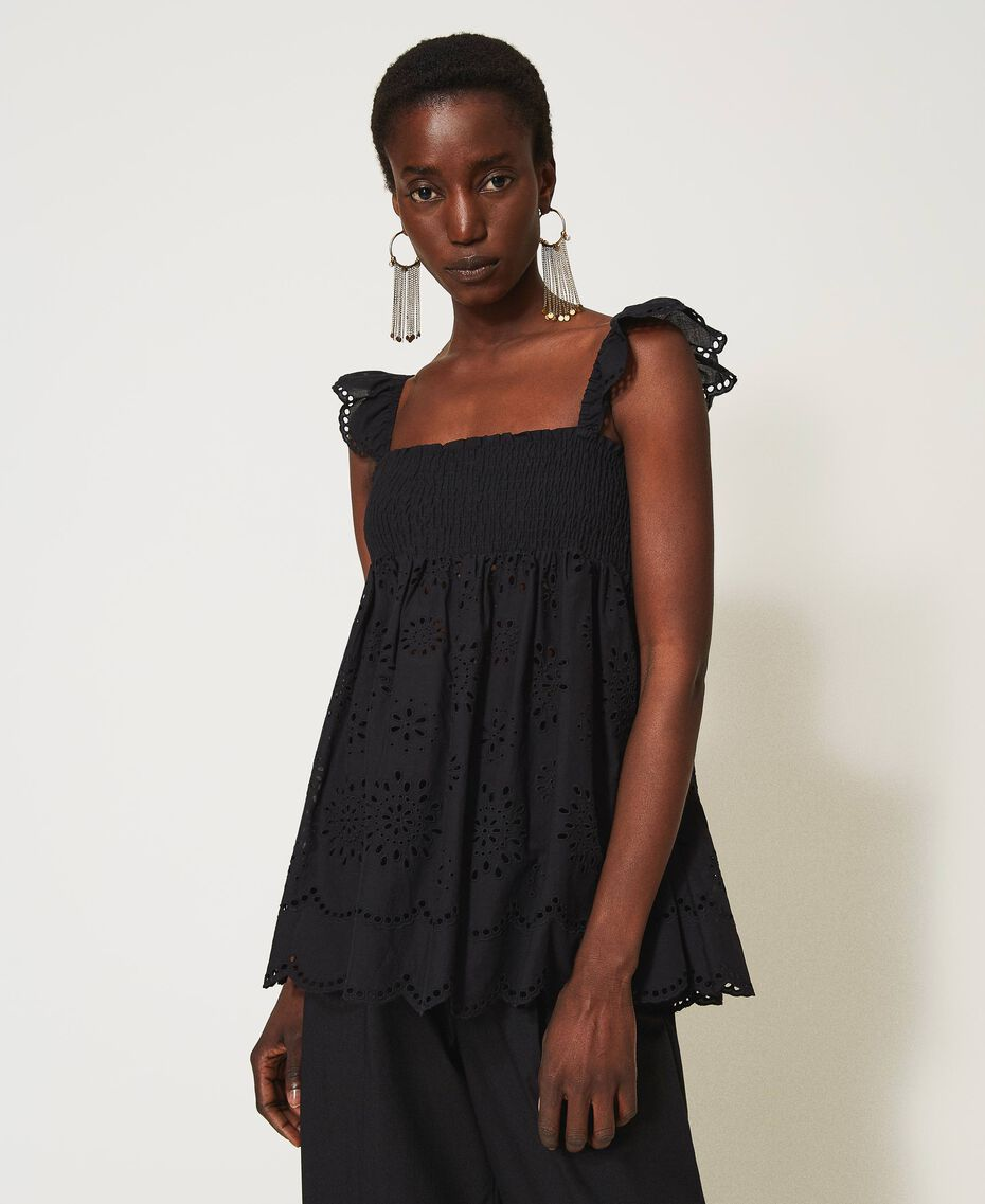 Muslin top with broderie anglaise embroidery Black Woman 211TT2593-02