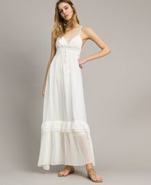 Long dress with crochet top Ivory Woman 191LM2NDD-02