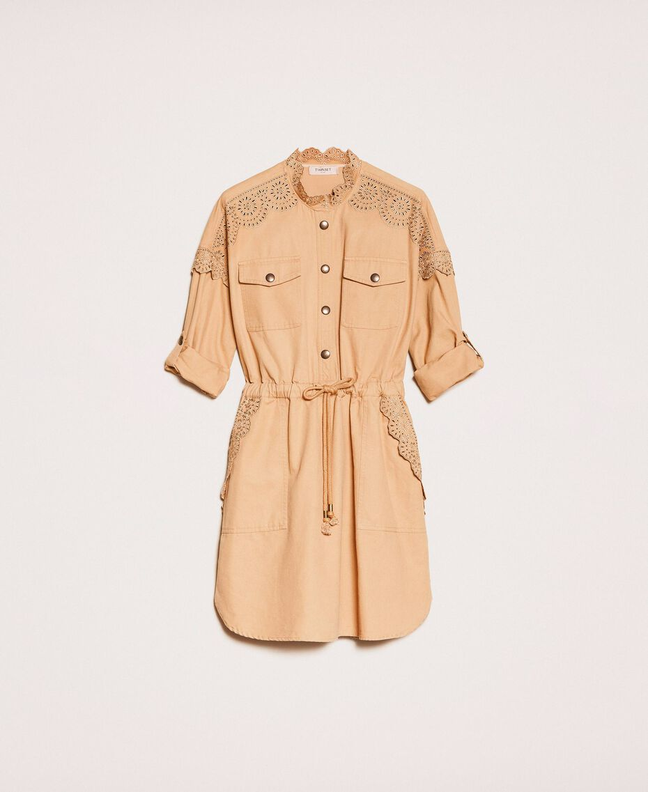 """Canvas dress with broderie anglaise """"Dune"""" Beige Woman 201TP2014-0S"""