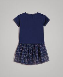 T-shirt in jersey e gonna in tulle con ricamo Indaco Bambina 191GB2440-0S