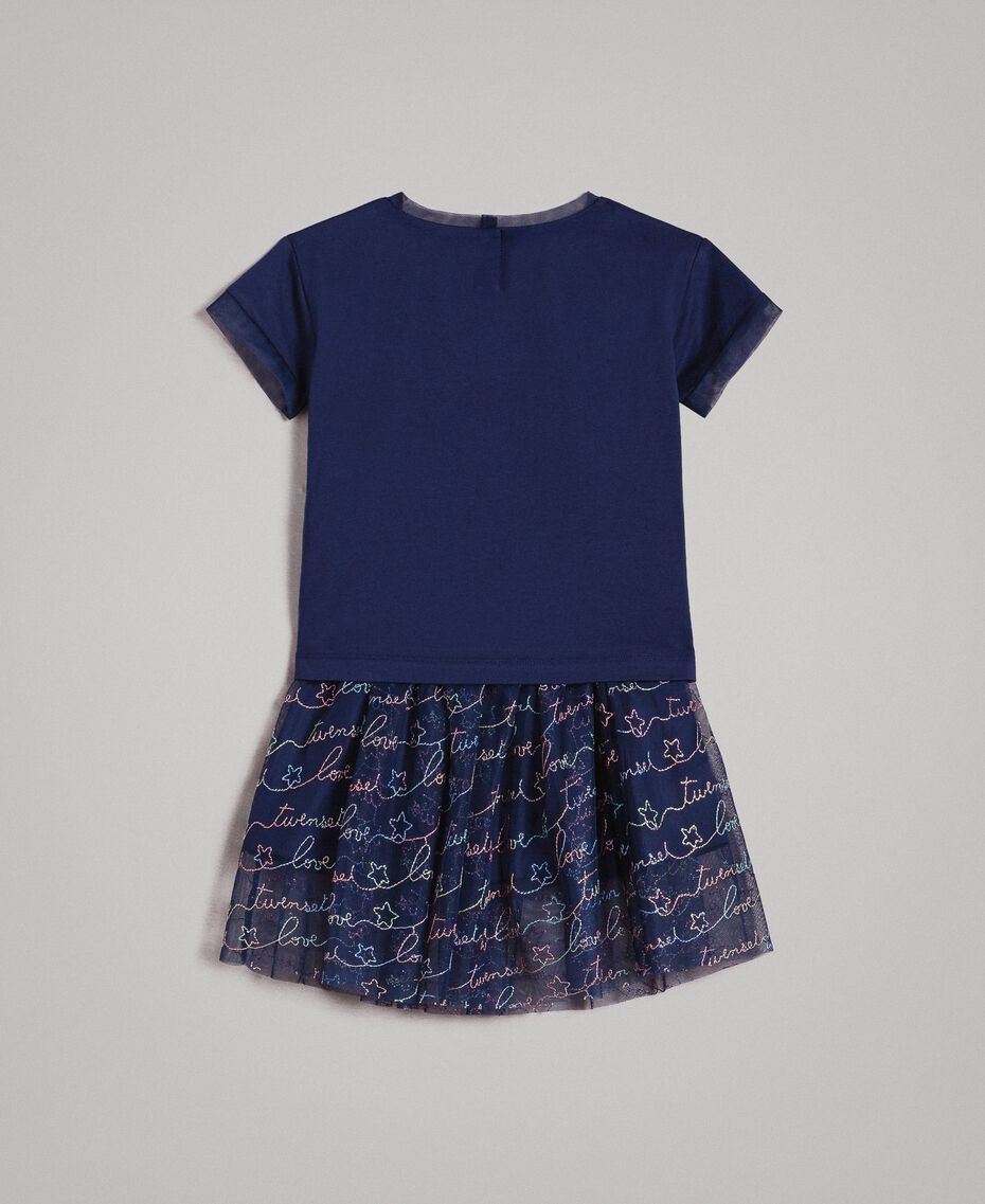 Jersey T-shirt and tulle skirt with embroidery Indigo Child 191GB2440-0S