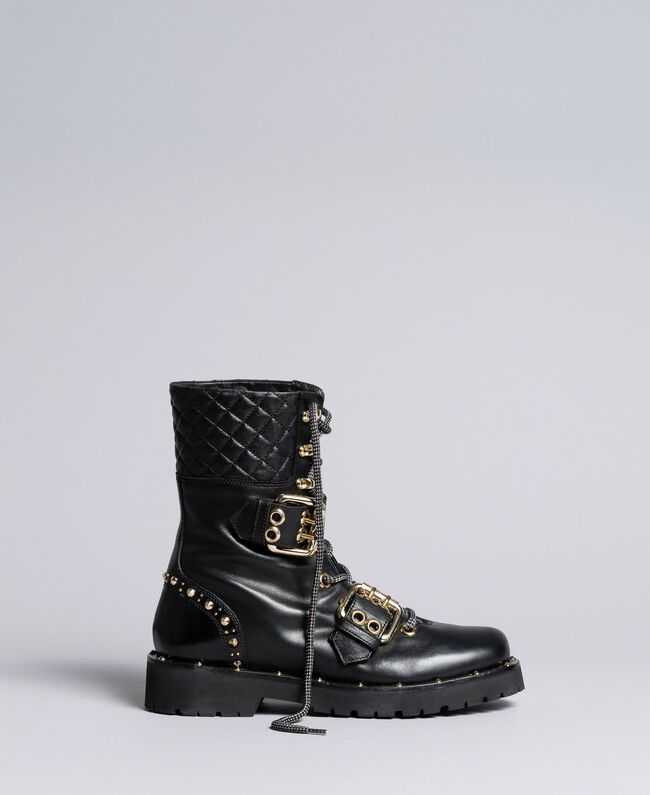 Leather combat boots with double buckle Black Woman CA8PLU-01