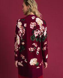 Maxi cardigan imprimé Imprimé Rouge Betterave Géranium Femme 192TP3363-03