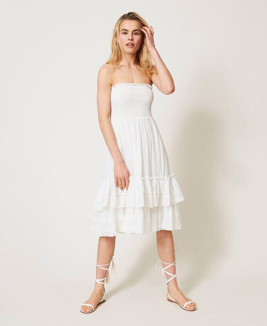 Платье-юбка с оборками и кружевом Слоновая кость женщина 211LM2BPP-02