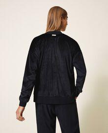 Chenille sweatshirt with rhinestones Black Woman 202LL2GEE-03