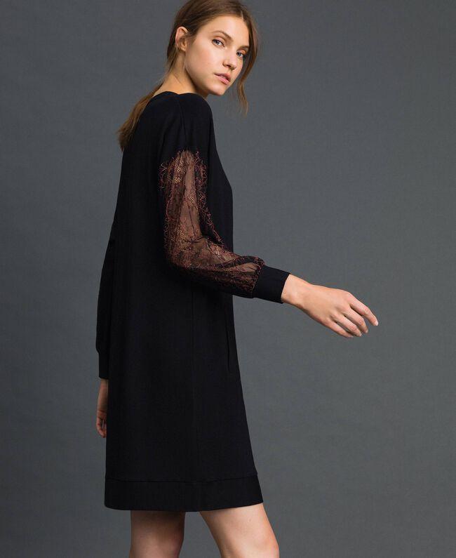 Robe en molleton avec dentelle bicolore Noir Femme 192LI24CC-03