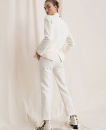 Linen blend cigarette trousers White Snow Woman 201TP2256-03
