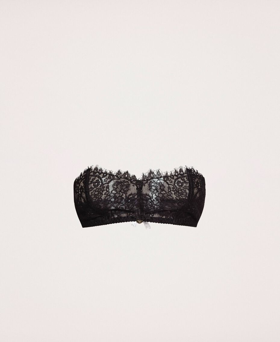 Lace and tulle bandeau bra Black Woman 201LL6211-0S