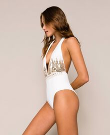 One-piece swimsuit with sequins Ivory Woman 201LBM1ZZ-02