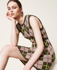 Robe jacquard «Coltan» à carreaux Multicolore Vert «Amazonie» / Rose «Wood Rose» Femme 212AP3234-05