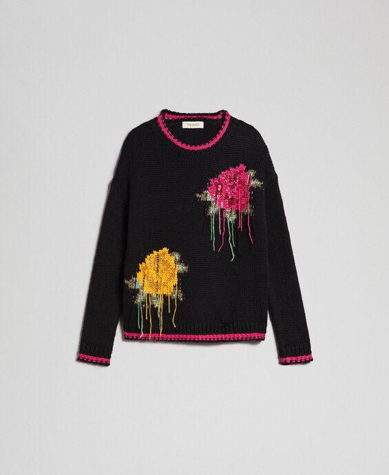 Pull en laine mélangée avec incrustation de roses