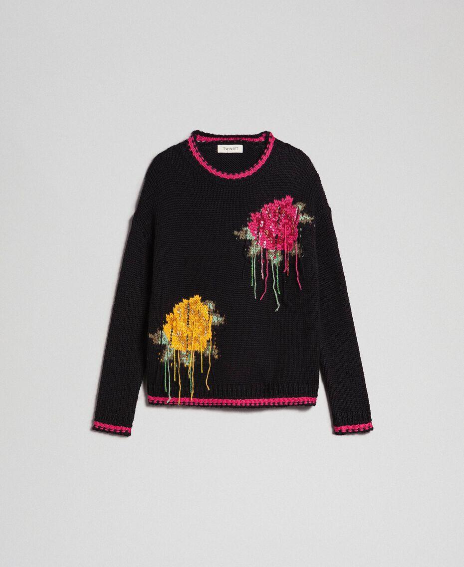 """Maglia in misto lana con intarsio di rose Nero / Fuxia """"Caramella"""" Bambina 192GJ3020-0S"""