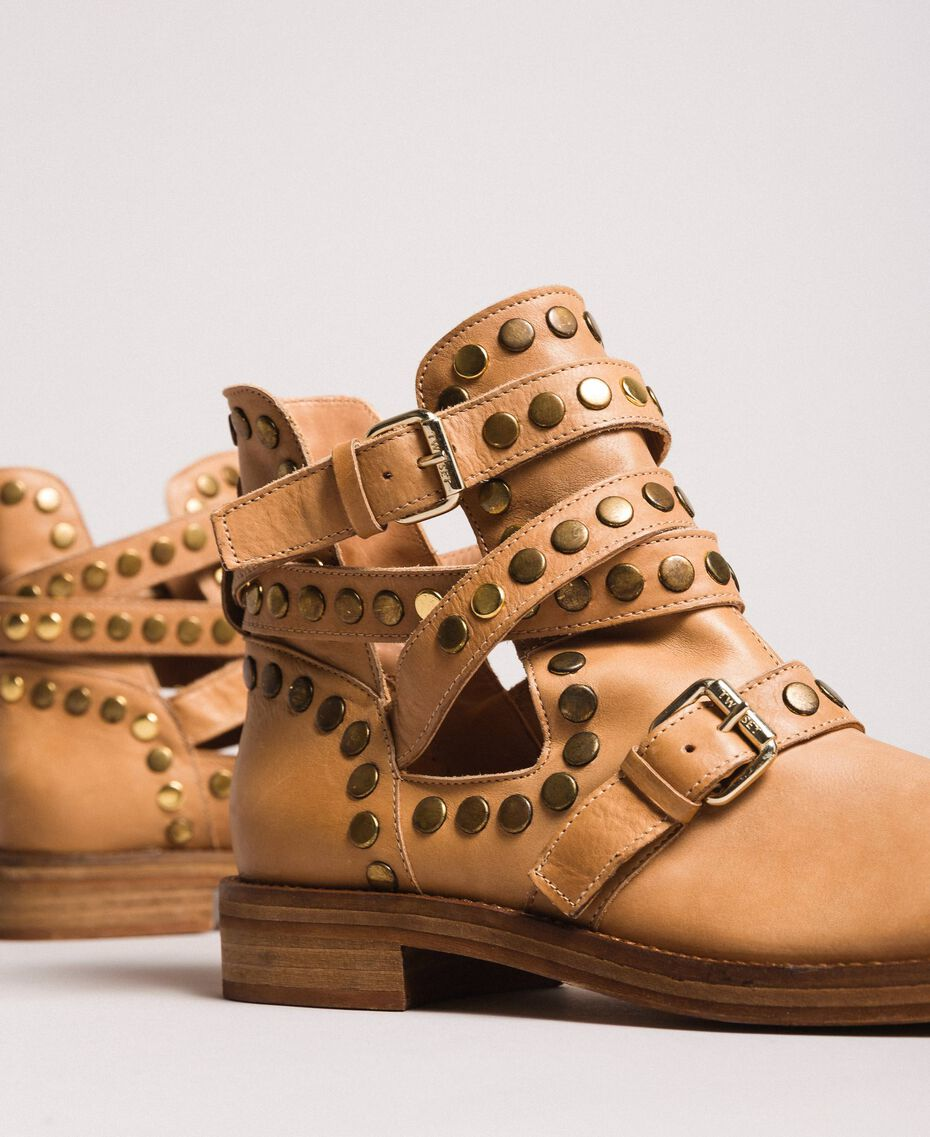 Leather biker boots with straps and studs Nougat Beige Woman 191TCP048-01