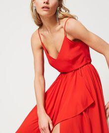 """Long silk blend dress """"Coral"""" Red Woman 211TT2142-05"""
