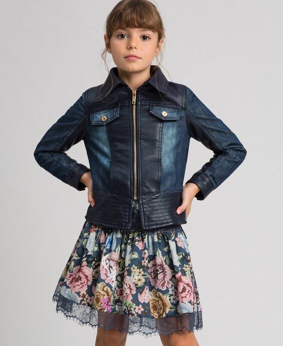 Faux leather and denim jacket