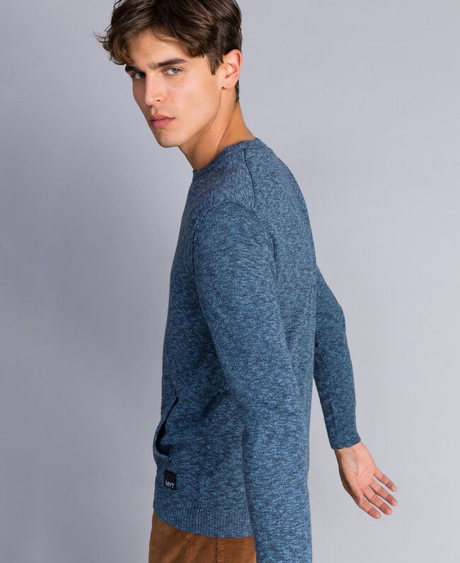Jersey de algodón y lana Bicolor Gris Antracita / Azul Denim Hombre UA83BB-03