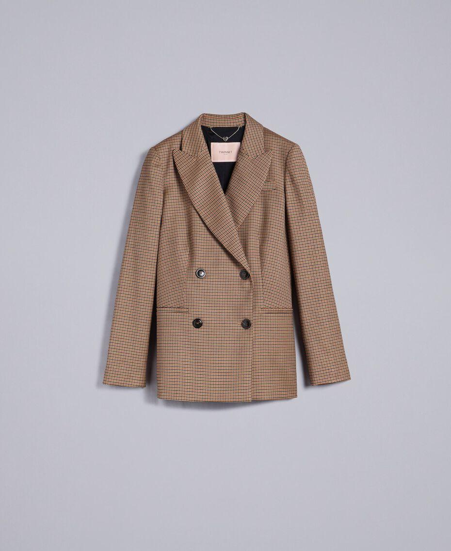 """Zweireihige Jacke aus Wollmischung Jacquard-Karomuster """"Gebranntes"""" Orange Frau TA821U-0S"""