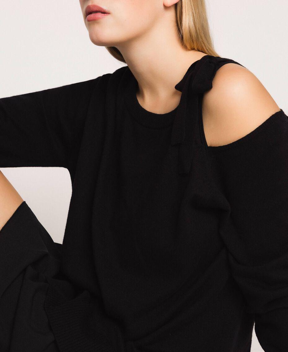 Vestido de mezcla de cachemira con lazo Negro Mujer 201TP3013-01