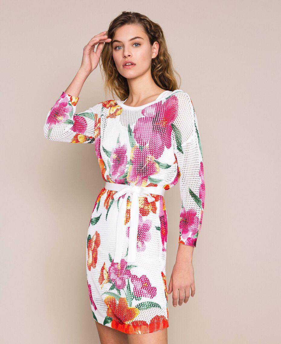 Robe imprimée à jours Imprimé Hibiscus Neige Femme 201TT3190-01